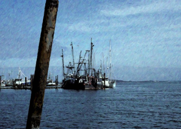 Bay Greeting Card featuring the photograph Fishing Boats In Harbor by One Rude Dawg Orcutt