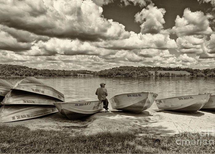 Fishing Greeting Card featuring the photograph Fishing By The Boats 2 by Jack Paolini