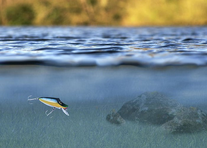 Lure In Use Greeting Card featuring the photograph Fishing Lure In Use by Meirion Matthias