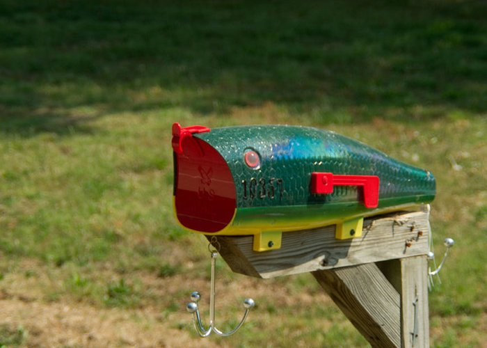 Fishing Greeting Card featuring the photograph Fishing Lure Mailbox 1 by Douglas Barnett