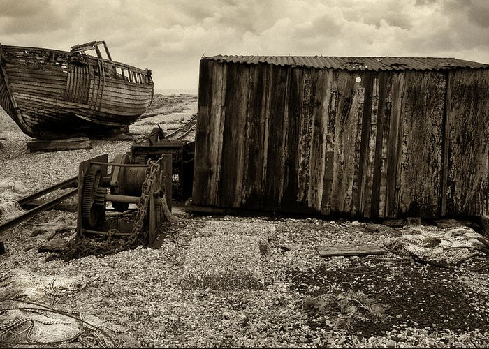Fishing Greeting Card featuring the photograph Fishing Remains At Dungeness by David Turner