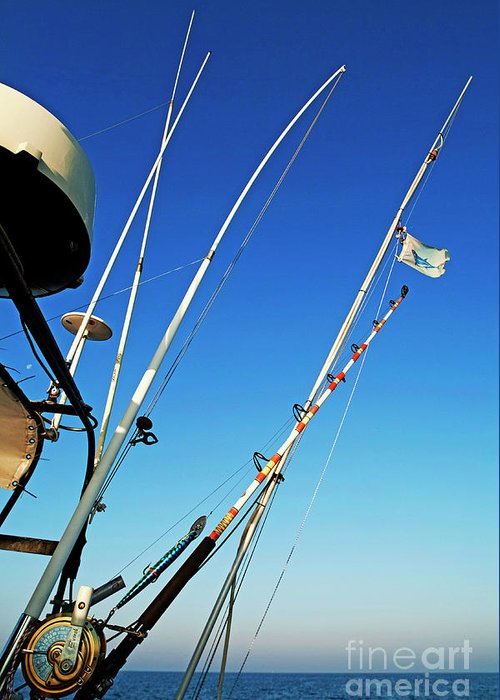 Boat Greeting Card featuring the photograph Fishing Rods by Sami Sarkis