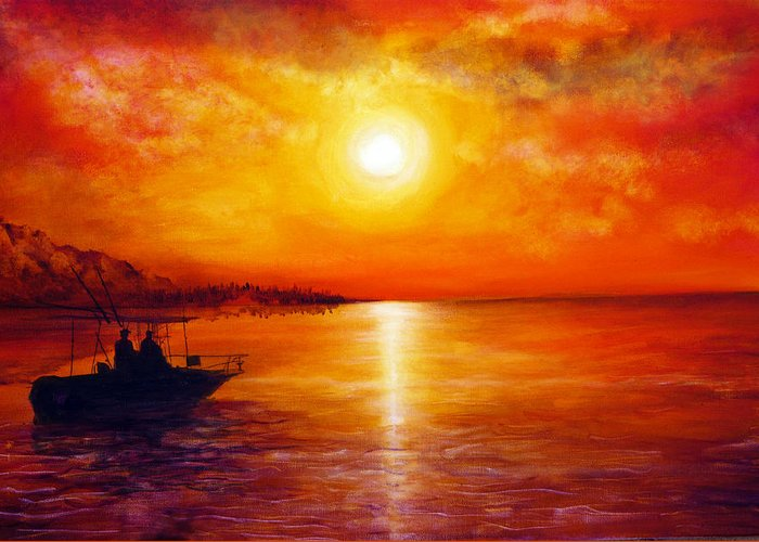 Hand Painted Greeting Card featuring the painting Fishing Trip by Ann Marie Bone