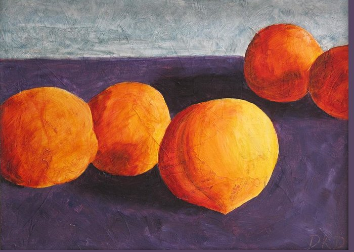 Five Greeting Card featuring the painting Five Peaches by Dina Day