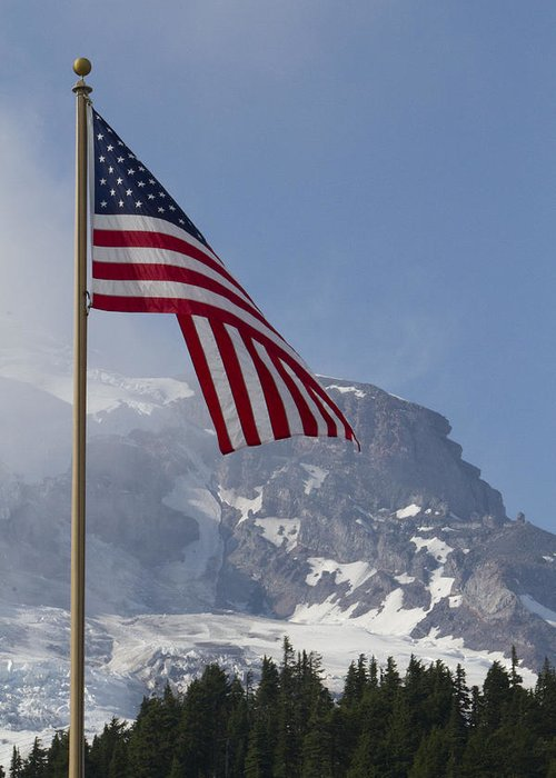 Mt Rainier Greeting Card featuring the photograph Flag And The Mountain by Rick Pinson