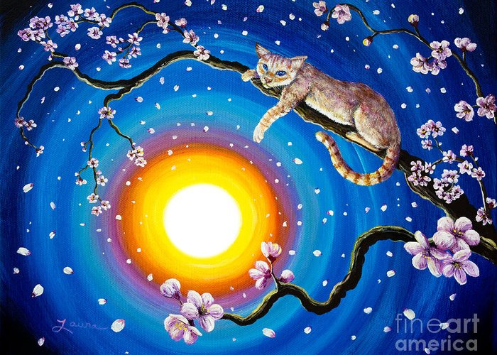 Flame Point Greeting Card featuring the painting Flame Point Siamese Cat In Cherry Blossoms by Laura Iverson