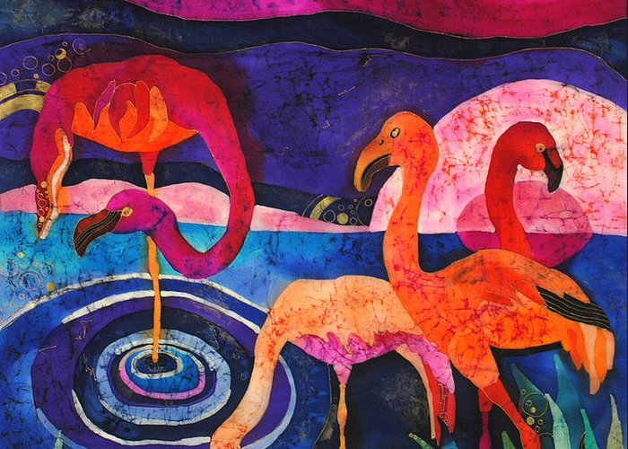 Silk Greeting Card featuring the tapestry - textile Flamingos by Sandra Kern