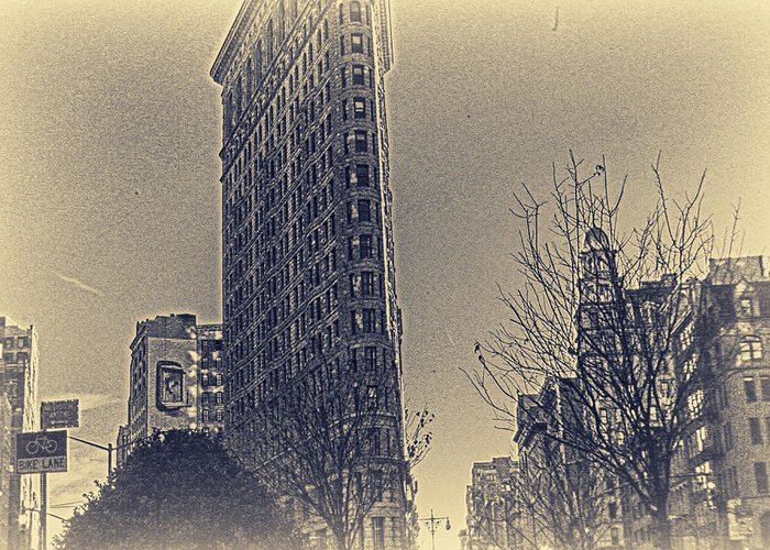 Cityscape Greeting Card featuring the photograph Flat Iron In Sepia by Alex AG
