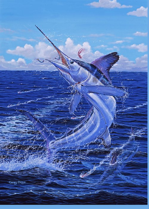 White Marlin Greeting Card featuring the painting Flat Line by Carey Chen