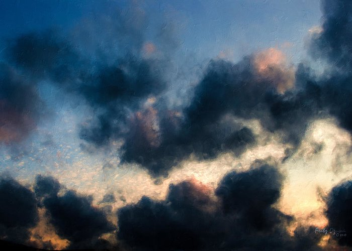 Fleecy Clouds Greeting Card featuring the painting Fleecy Sunset Clouds 1208 by Fritz Ozuna