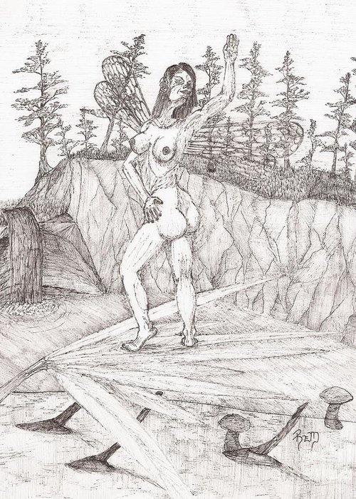 Fairy Greeting Card featuring the drawing Flexible In The Morning... - Sketch by Robert Meszaros