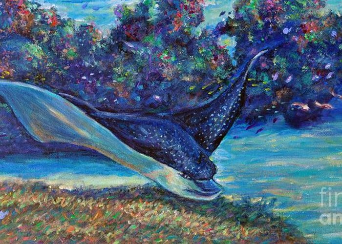 Spotted Eagle Ray Greeting Card featuring the painting Flight Of The Eagle by Li Newton