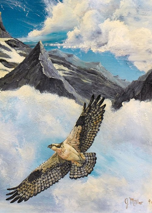 Halk Greeting Card featuring the painting Flight Of The Osprey by Jim Miller