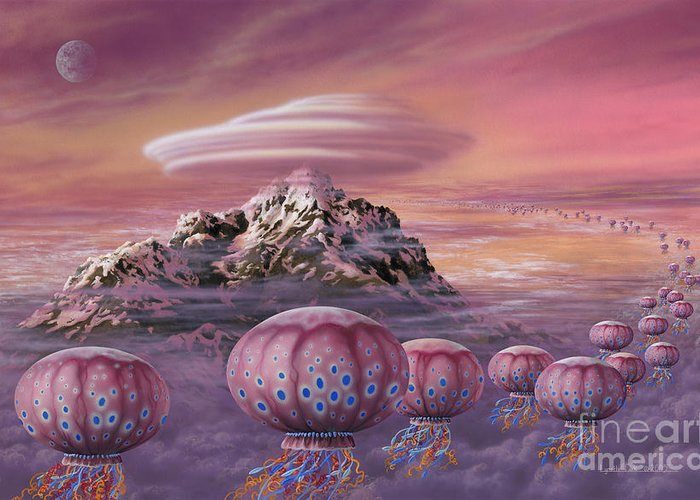 Lynette Cook Greeting Card featuring the painting Floaters by Lynette Cook