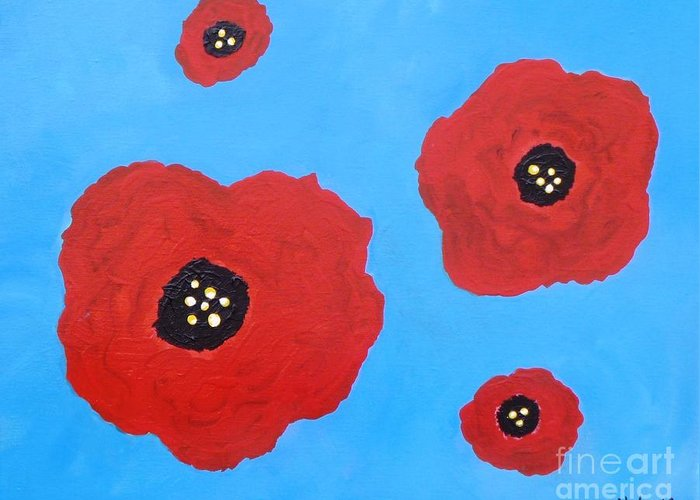 Acrylic Print Greeting Card featuring the painting Floating Flowers by Alys Caviness-Gober