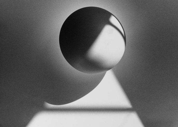 Sphere Greeting Card featuring the photograph Floating Sphere On Light Triangle- Black And White Silver Gelati by Adam Long