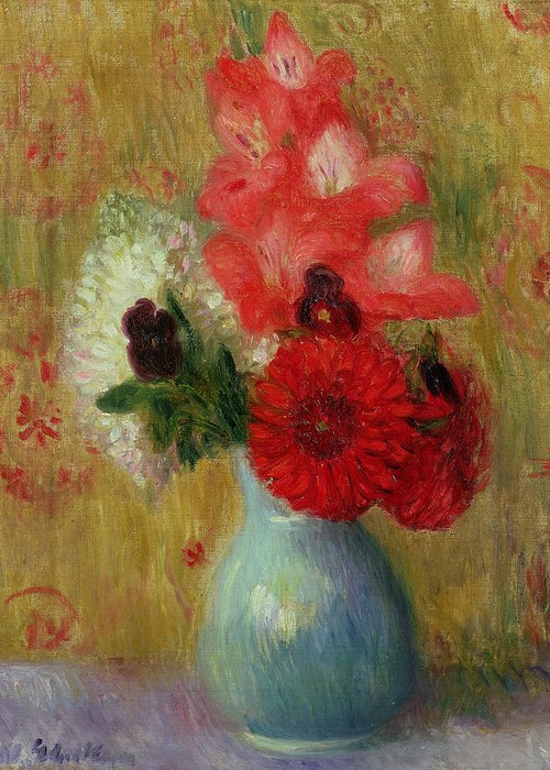 Floral Arrangement In Green Vase (oil On Canvas)still Life; Flowers; Flower; American Impressionist; Ashcan School; The Eight; Still-life Greeting Card featuring the painting Floral Arrangement In Green Vase by William James Glackens