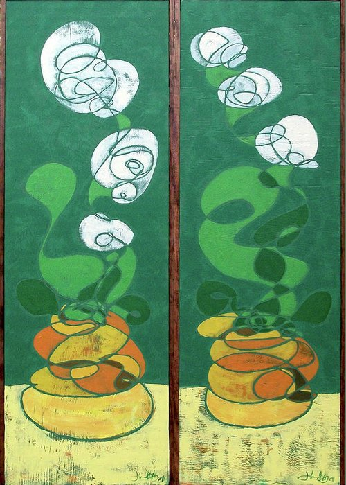 Floral Greeting Card featuring the painting Floral Diptych In Green And Orange by John Gibbs