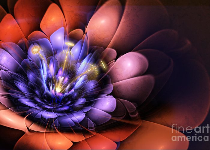 Flower Greeting Card featuring the digital art Floral Flame by John Edwards