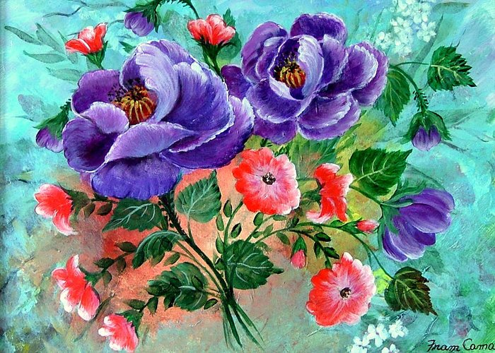 Floral--still Life Greeting Card featuring the painting Floral Frenzy by Fram Cama