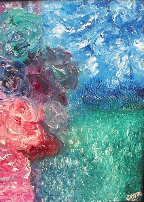 Landscape Greeting Card featuring the painting Floral View by Crystal Mccormick