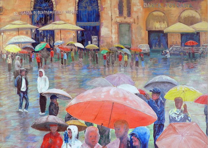 Umbrellas Greeting Card featuring the painting Florence Spring by Dan Bozich