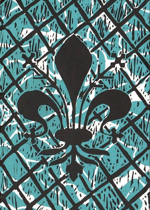 Fleur De Lis Greeting Card featuring the mixed media Florentine Fleur Ginger T by Julia Forsyth
