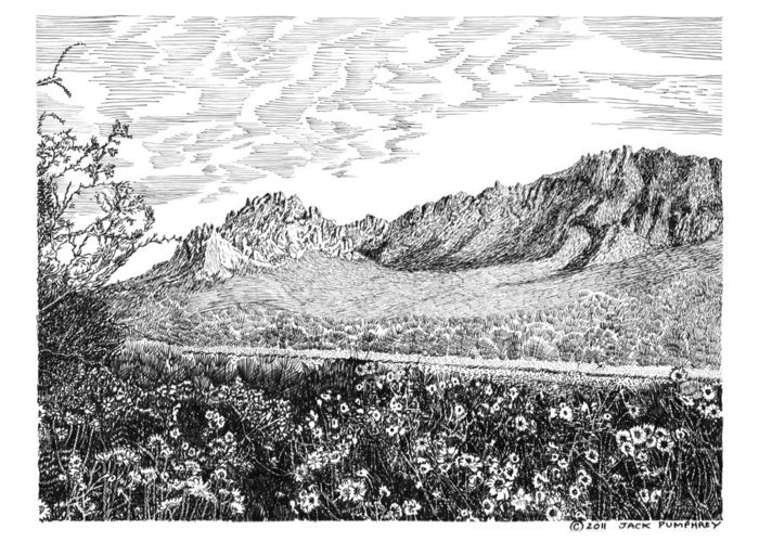 Framed Prints And Note Cards Of Ink Drawings Of Scenic Southern New Mexico. Framed Canvas Prints Of Pen And Ink Images Of Southern New Mexico. Black And White Art Of Southern New Mexico Greeting Card featuring the drawing Florida Mountains And Poppies by Jack Pumphrey