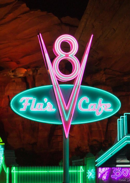 Disney Greeting Card featuring the photograph Flo's V8 Cafe - Cars Land - Disneyland by Heidi Smith