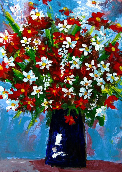 Red Greeting Card featuring the painting Flower Arrangement Bouquet by Patricia Awapara