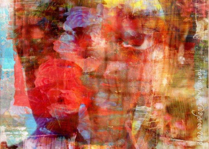 Fania Simon Greeting Card featuring the mixed media Flower Girll by Fania Simon