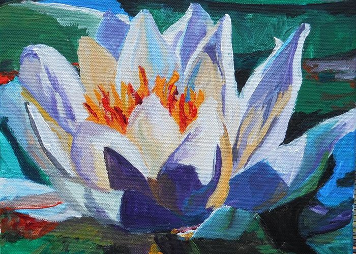 Greeting Card featuring the painting Flower In The Lake by Mina Mila