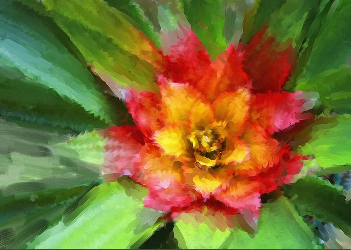 Flower Greeting Card featuring the painting Flower Of The Tropics by Carolyn Whitaker