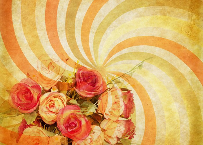 Abstract Greeting Card featuring the photograph Flower Pattern Retro Style by Setsiri Silapasuwanchai