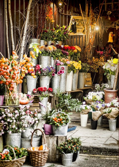 Florist Greeting Card featuring the photograph Flower Shop by Heather Applegate