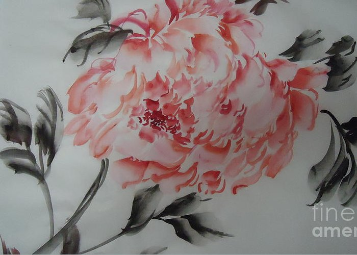Flower Greeting Card featuring the painting Flower092012-2 by Dongling Sun