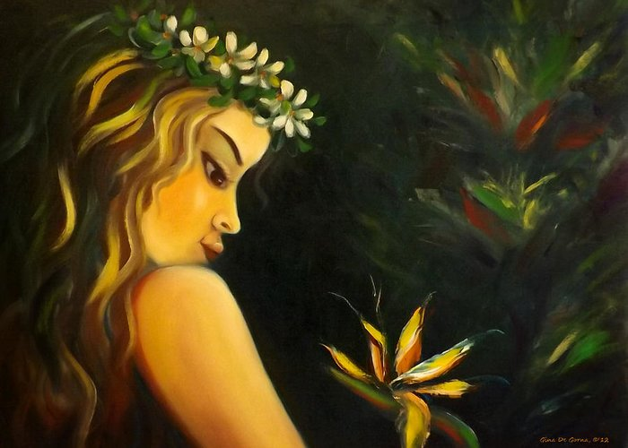 Nude Greeting Card featuring the painting Flowers Of Paradise by Gina De Gorna