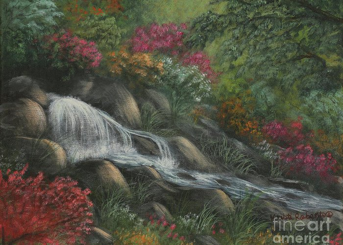 Landscape Greeting Card featuring the painting Flowing Waters by Kristi Roberts