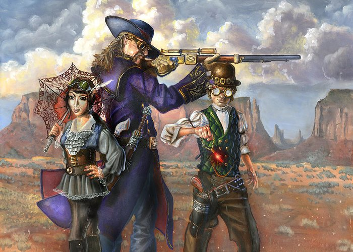Wild Bill Hickok Greeting Card featuring the painting Flux Engine by Jeff Brimley