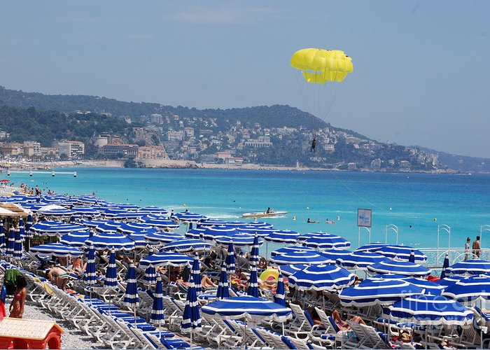 Nice Greeting Card featuring the photograph Flying Over The Nice Beach by Andrea Simon