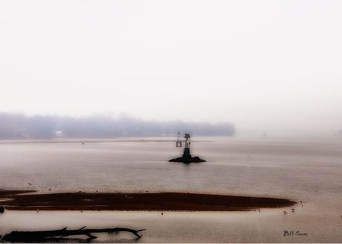 Foggy Delaware River Greeting Card featuring the photograph Foggy Delaware River by Bill Cannon