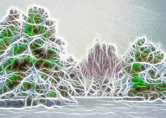 Fog Greeting Card featuring the photograph Foggy Morning Landscape 17 - Fractal Abstract by Steve Ohlsen