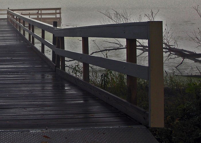 Como Greeting Card featuring the photograph Foggy Morning On The Dock by Janis Beauchamp