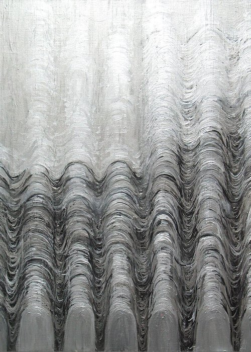 Metallic Greeting Card featuring the painting Foggy Silver Mountain Range by Kazuya Akimoto