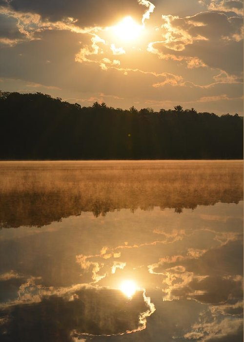 Lake Greeting Card featuring the photograph Foggy Sunrise by Jennifer King