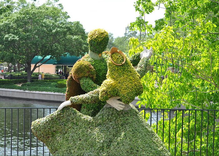 Prince And Princess Plants Foliage Sunny Dance Gloves Fence Water Sky Trees Beauty Romance Love Man Woman Dress Greeting Card featuring the photograph Foliage Romance by Laura Ogrodnik