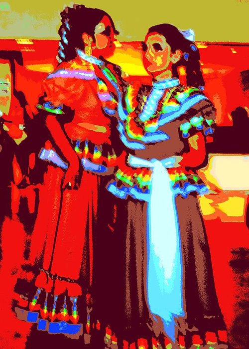 Ballet Folklorico Greeting Card featuring the digital art Folklorico Dancers by Randall Weidner