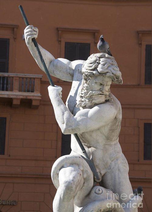 Wells Greeting Card featuring the photograph Fontana Del Nettuno. Neptune Fountain. Piazza Navona. Rome by Bernard Jaubert