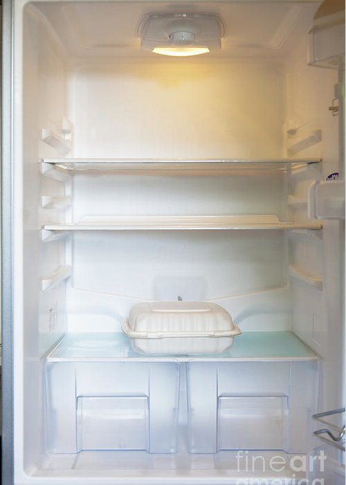 Ajar Greeting Card featuring the photograph Food Container In A Refrigerator by Inti St. Clair