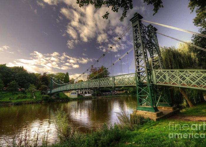 Shrewsbury Greeting Card featuring the photograph Footbridge Over The Severn by Rob Hawkins